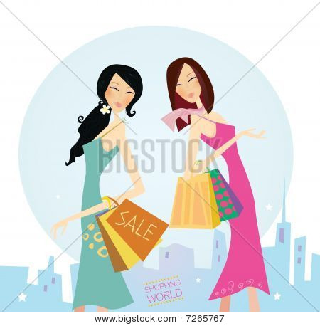 Shopping women in the city