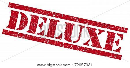 Deluxe Red Grungy Stamp Isolated On White Background