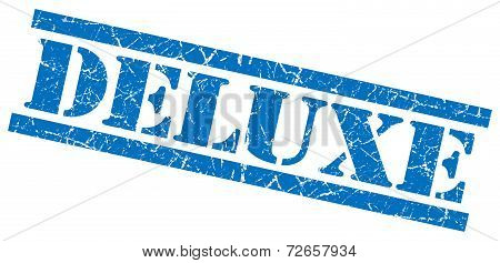 Deluxe Blue Grungy Stamp Isolated On White Background