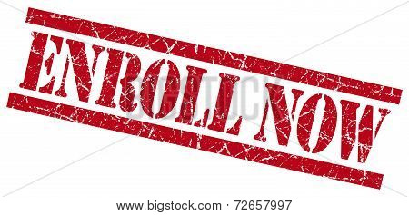 Enroll Now Red Grungy Stamp Isolated On White Background