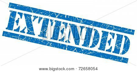 Extended Blue Grungy Stamp Isolated On White Background