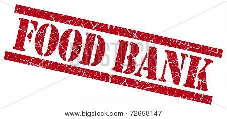Food Bank Red Grungy Stamp Isolated On White Background
