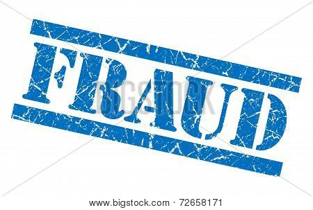 Fraud Blue Grungy Stamp Isolated On White Background