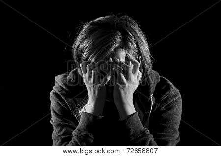Close Up Woman Suffering Depression And Stress Alone In Pain And Grief