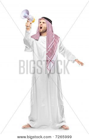 An irritated arab person screaming on a megaphone
