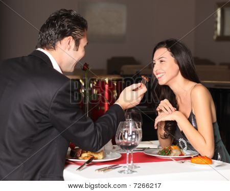 Romantic Couple Having Dinner