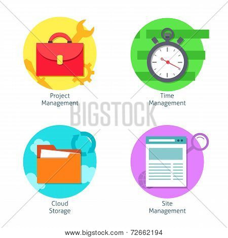 Office management icons set