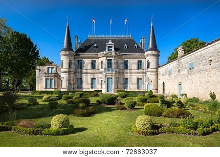 BORDEAUX, FRANCE -  MAY 2014: Chateau Palmer - one of the most famous winemakers in France