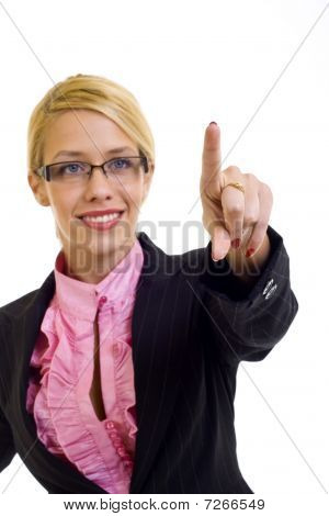 Businesswoman Touch Screen