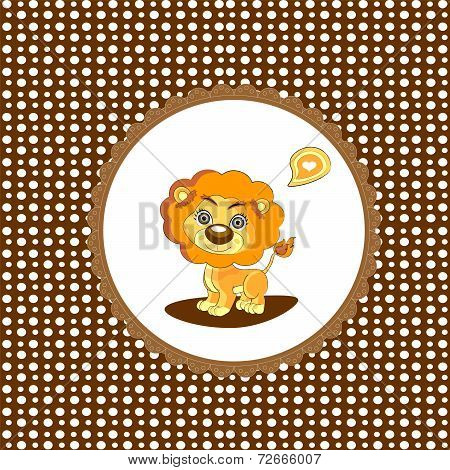 There's A Baby On The Way Card with a Lion. Vector