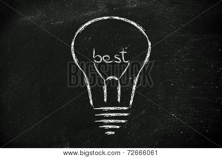 Lightbulb With Filament Saying Best