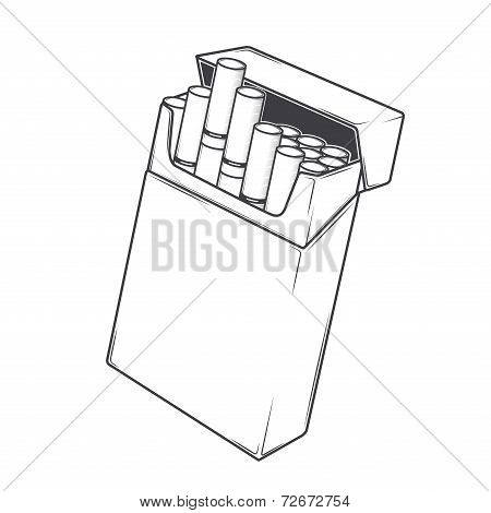Close-up Cigarettes In A Packet Isolated On A White Background. Monochromatic Line Art. Retro Design
