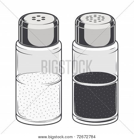 Glass Salt And Pepper Shakers Isolated On A White Background. Color Line Art. Retro Design. Vector I