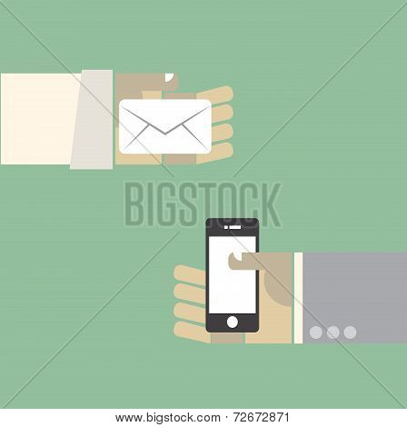 Message Evolution The Past Old Mail And Next Generation Smartphone. Vector. Eps10