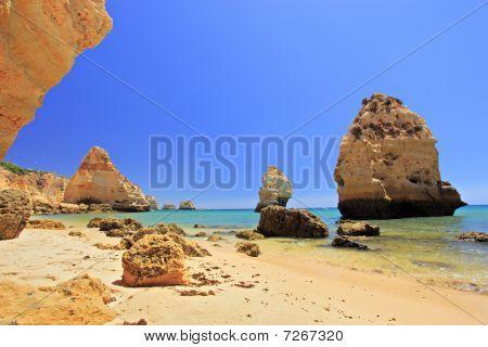 A beach praia da marinha in Algarve