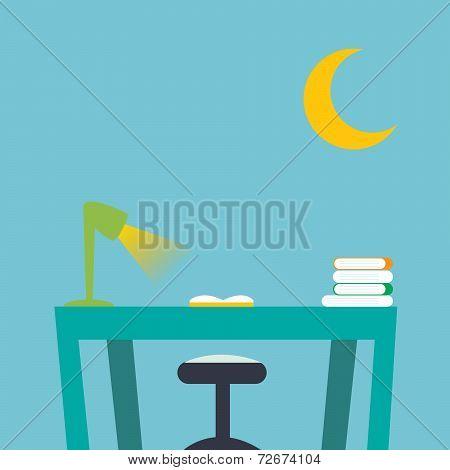 Desktop In Kid Bedroom With Book And Notebook.