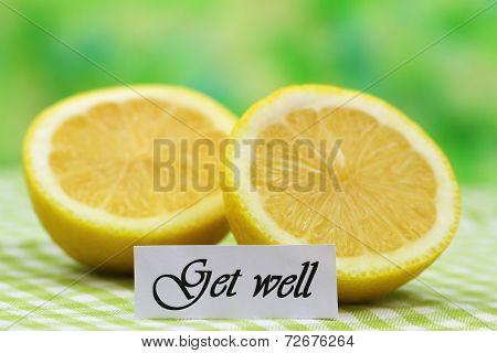 Get well card with fresh lemon