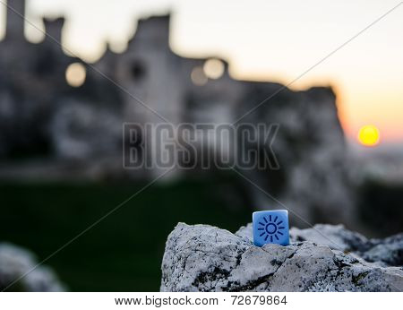 Weather Dice With Sun Sketch On Castle Background