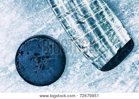 Hockey Stick And Puck.