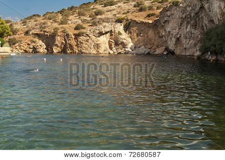 Thermal radonic mineral lake near Athen, Greece photo