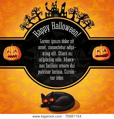 Happy halloween banner with greetings and sample text. Spooky trees, haunted castle, black cat on th