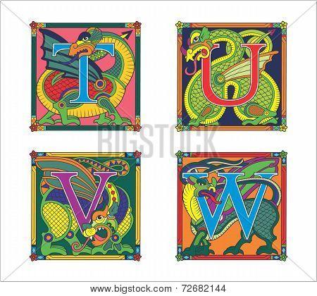 alphabet, letters that decorate dragons