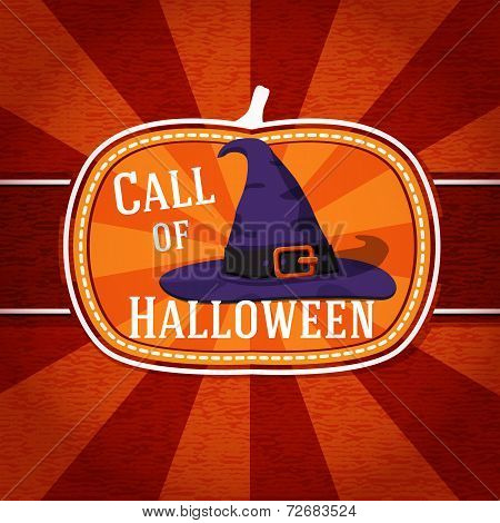 Pumpkin shape retro stylized badge, violet witch hat with strap and buckle. Halloween greeting. Vect
