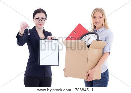 Moving Concept - Attractive Business Woman Showing Clipboard And Metal Key And Girl With Box Isolate