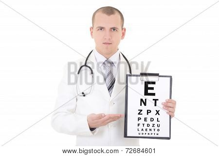Male Doctor Ophthalmologist And Eye Test Chart Isolated On White