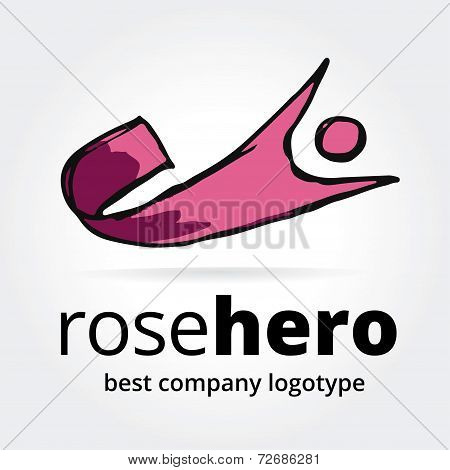 Abstract vector super hero logotype concept isolated on white background