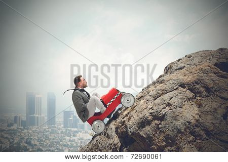 Difficult Carrer With Driving Businessman