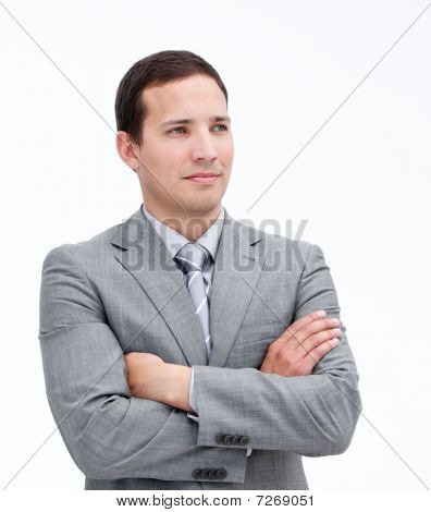 Portrait Of A Fortunate Businessman With Crossed Arms