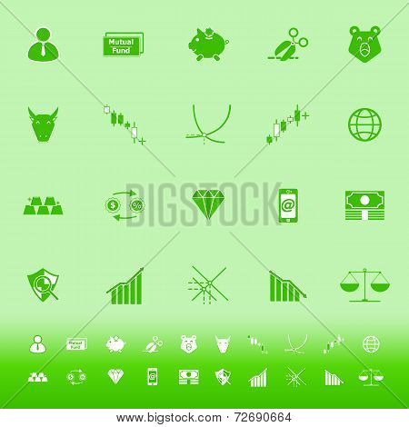 Stock Market Color Icons On Green Background