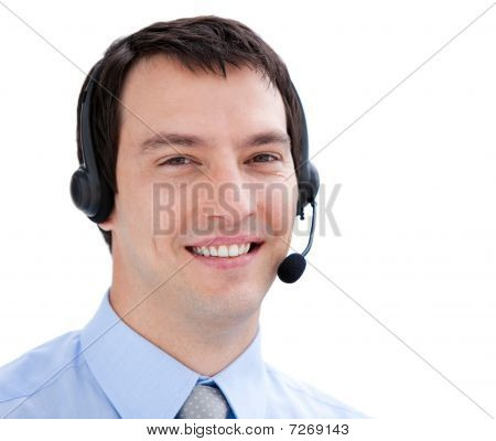 Portrait Of An Assertive Businessman With Headset On