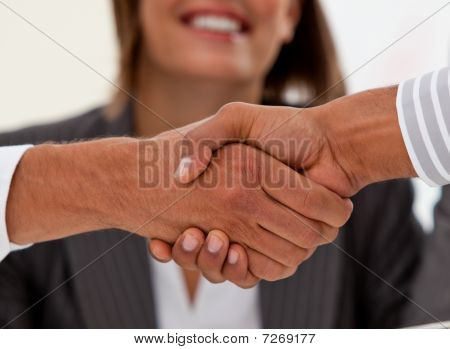 Close-up Of Successful Businessmen Closing A Deal