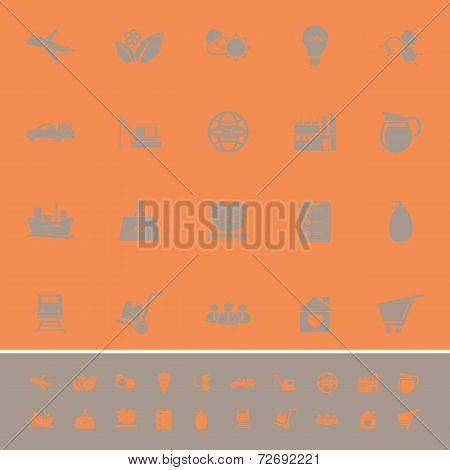 Supply Chain And Logistic Color Icons On Orange Background