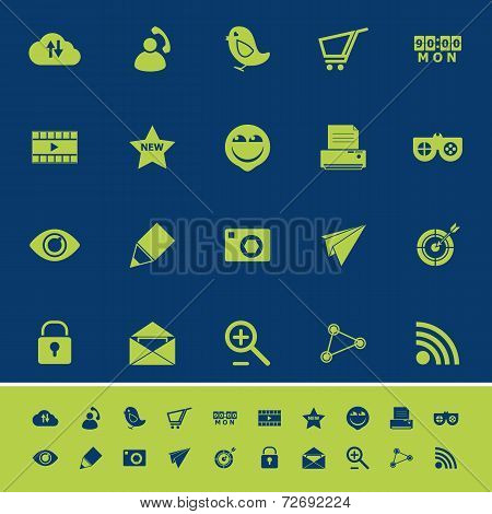 Internet Useful Color Icons On Blue Navy Background