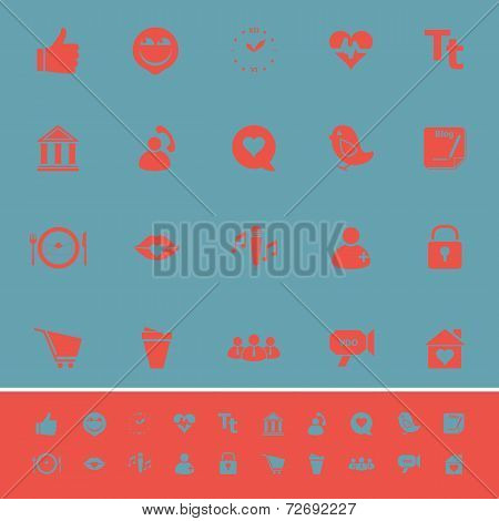 Chat Conversation Color Icons On Blue Background