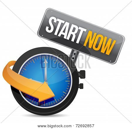 Start Now Watch Illustration Design