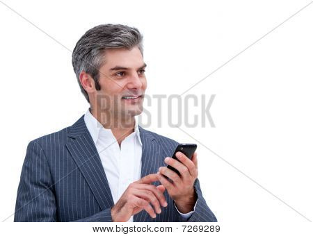 Portrait Of A Pensive Businessman Looking At His Phone