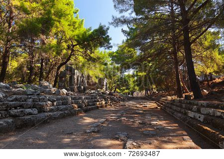 Old Town Phaselis In Antalya, Turkey