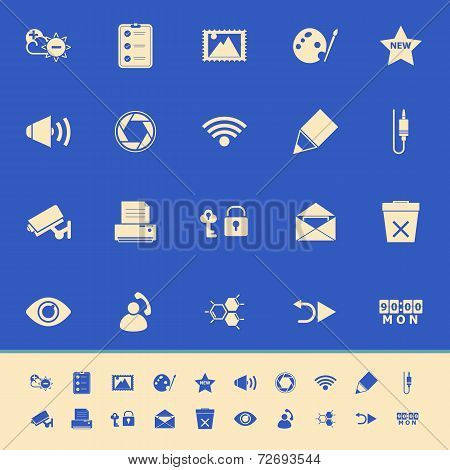 General Computer Screen Color Icons On Blue Background