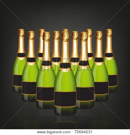 Champagne Bottle In Rows