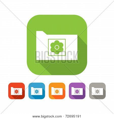 Color set of flat folder with picture sign