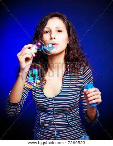 Pretty Girl With Soap Bubbles