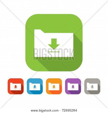 Color set of flat folder with upload sign