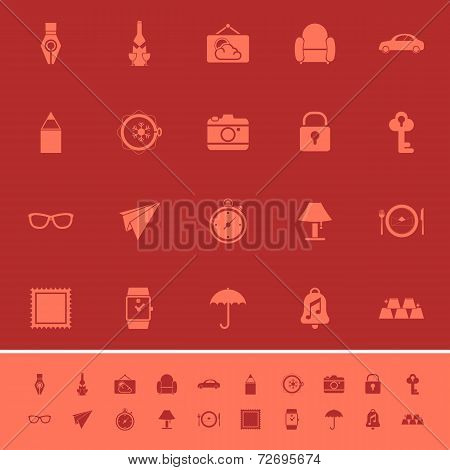 Vintage Collection Color Icons On Maroon Background