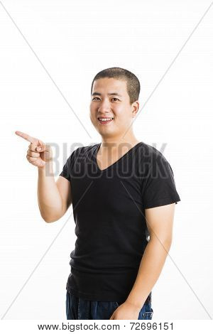 Young Asian Man Standing Isolated On White