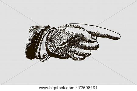 vector drawing hand with the index finger