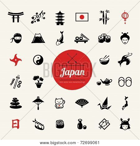 Set of flat design Japanese icons
